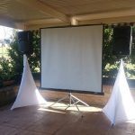 Projector Hire Plan with Mackie Speakers + White Scrim Kings